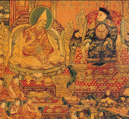 顺治皇帝_布达拉宫壁画:五世达赖喇嘛朝见顺治皇帝