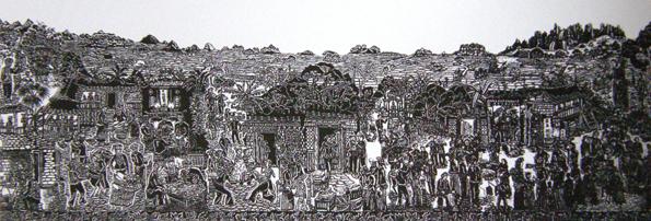 黑白木刻版画《婚俗》(