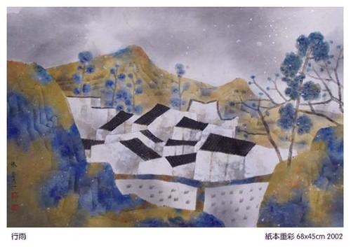 林容生/不同色彩背景中成组团状的黑与白成为林容生绘画的标志性形象。
