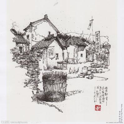 畲族服饰图片黑白铅笔手绘
