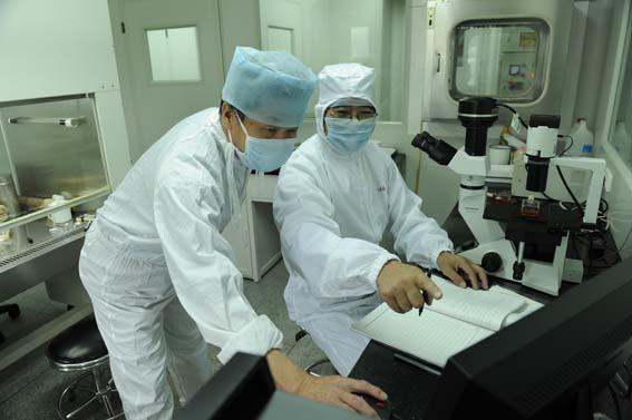 西北民族大学生命科学与工程学院马忠仁教授(右)在进行细胞