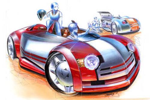 外国汽车手绘效果图