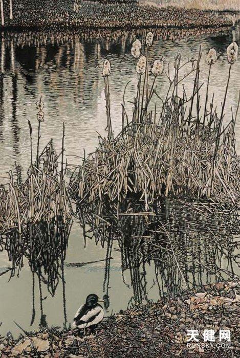 陈豪绝版木刻版画《泛舟心海》寓激情于恬静