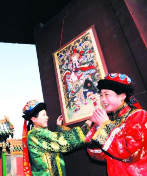 2013年沈阳故宫挂门神高清图片
