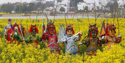 五猖菩萨木雕神像