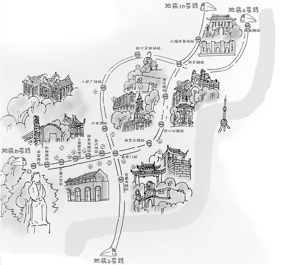 重庆市区景点手绘图