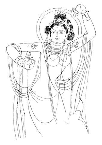 手绘佛教壁画图片