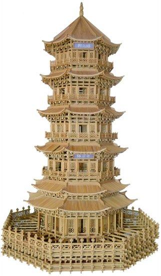 秸秆扎刻古建筑模型