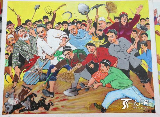 参赛作品《过街老鼠》-新疆农民画 用艺术的形式去极端化 润物细无声图片