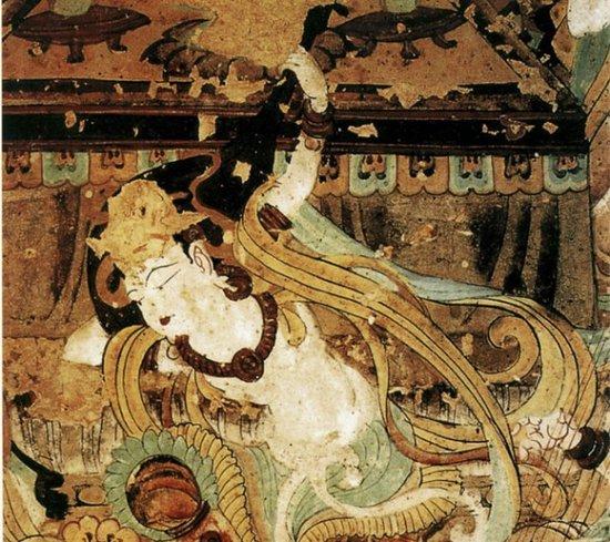 飞天形象和反弹琵琶造型是敦煌壁画艺术宝库中具有代表性的艺术图片
