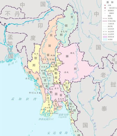缅甸及周边地图.