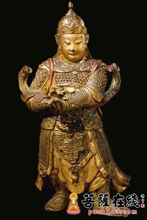 明代漆金木雕彩绘 韦驮菩萨立像