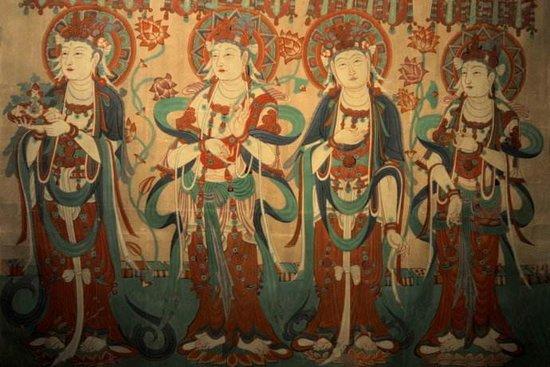 敦煌壁画形象十分逼真,尤其是:飞天图案,被唐朝人赞誉为天衣飞扬,满壁图片